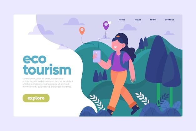 Landingspagina voor ecotoerisme met vrouw