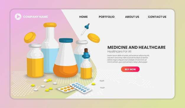 Landingspagina voor geneeskunde en gezondheidszorg