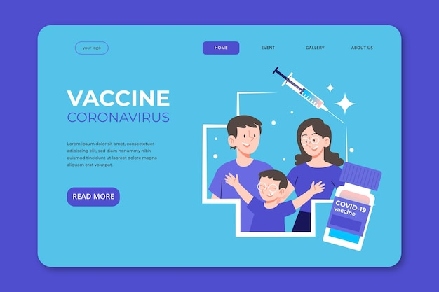 Landingspagina voor het coronavirus-vaccin met platte hand
