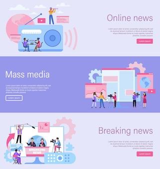 Landingspagina voor journalisten. online nieuwsbanner, massamediawebsite, nieuwsinhoud. interview opnemen met camera. radio televisie en krant digitale websjabloon, platte vectorillustratie