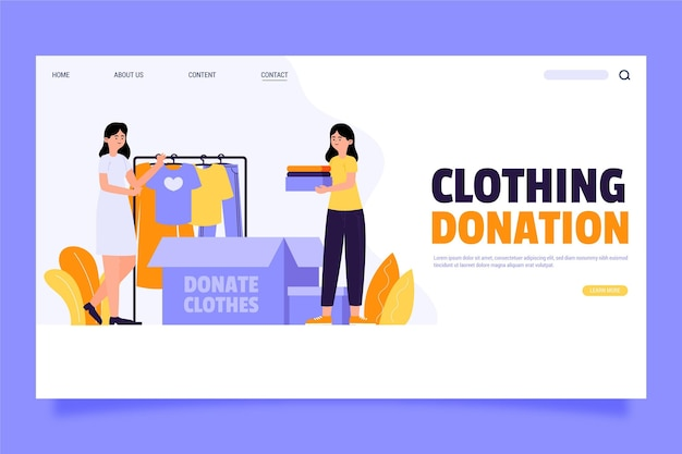 Landingspagina voor kledingdonatie