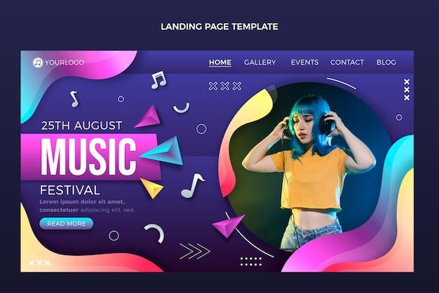 Landingspagina voor kleurrijke muziekfestivals met kleurovergang