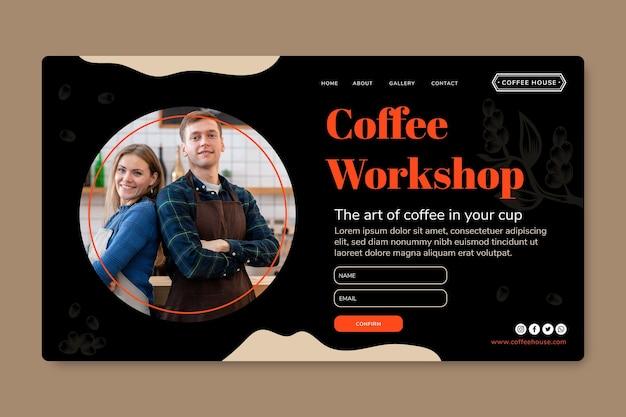 Landingspagina voor koffieworkshop Gratis Vector