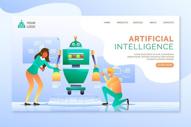 Landingspagina voor kunstmatige intelligentie-sjabloon