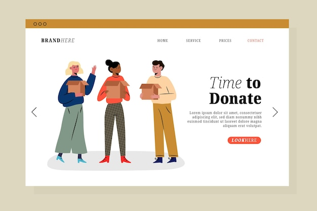 Landingspagina voor liefdadigheidsinstellingen voor kleding