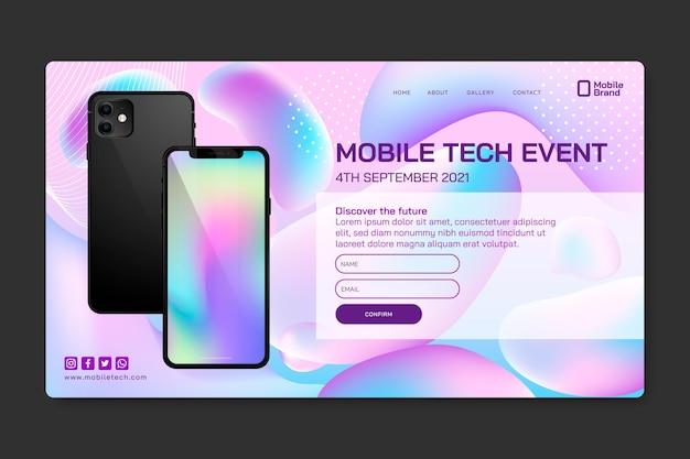Landingspagina voor mobiele tech-evenementen