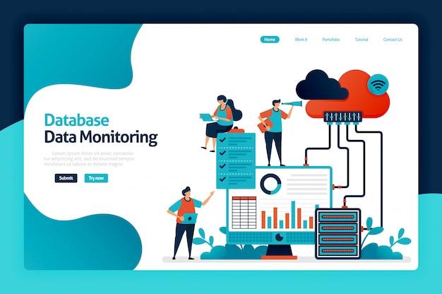 Landingspagina voor monitoring van databasegegevens