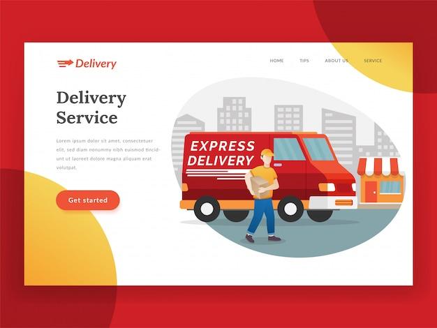 Landingspagina voor online bezorgservice met bestelwagen