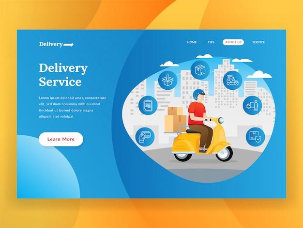 Landingspagina voor online bezorgservice met scooter