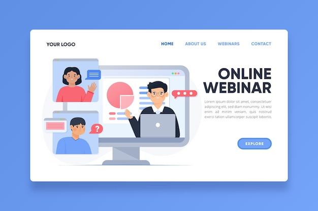 Landingspagina voor online conferentie-webinar