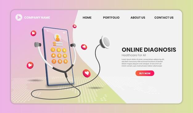 Landingspagina voor online diagnose