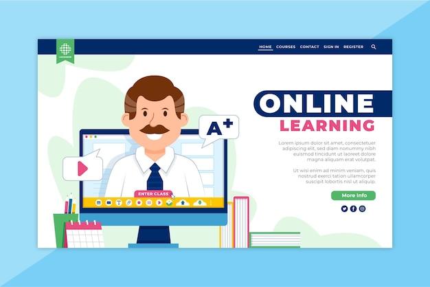 Landingspagina voor online leren Premium Vector