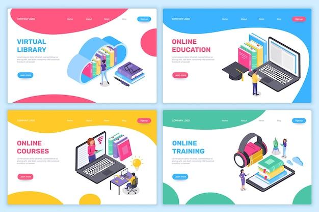 Landingspagina voor online onderwijs isometrisch leren thuis virtueel schooluniversiteitsconcept