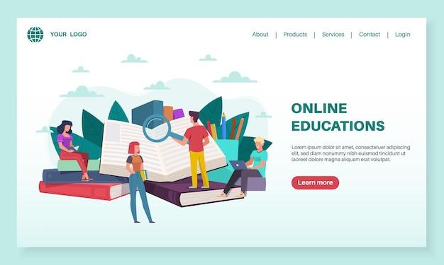 Landingspagina voor online onderwijs. kleine mensen lezen grote boeken. trainingen, internetonderwijs, e-learning en bibliotheek, tutorials webinar voor studenten, mobiele app of webbanner vector platte sjabloon