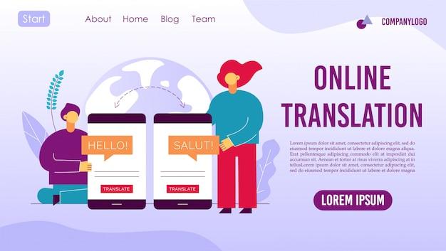 Landingspagina voor online vertaling van mobiele diensten