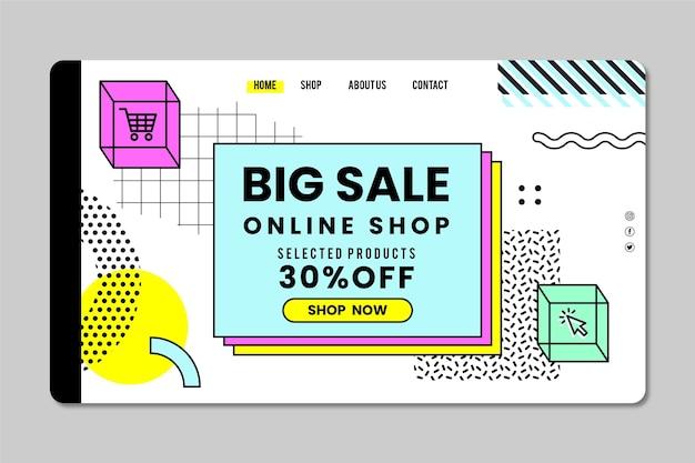 Landingspagina voor online winkelen met korting