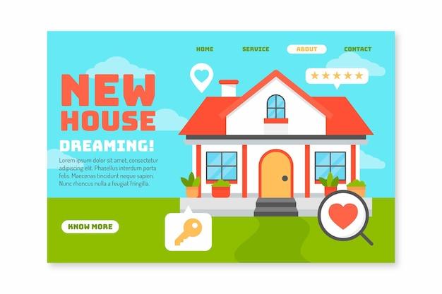 Landingspagina voor onroerend goed nieuw huis
