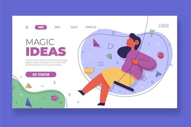 Landingspagina voor organische platte magische ideeën