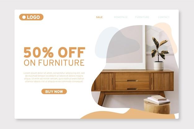 Landingspagina voor organische platte meubelverkoop met foto