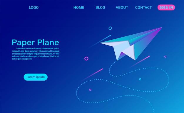 Landingspagina voor papieren vliegtuig