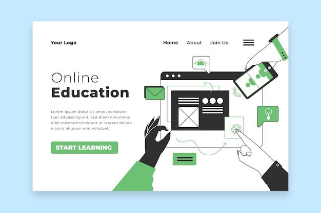Landingspagina voor plat lineair online leren