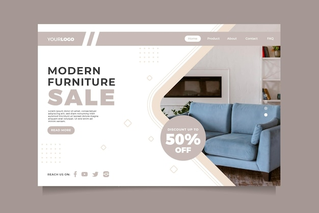 Landingspagina voor platte meubelverkoop met foto
