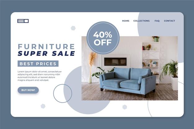 Landingspagina voor platte meubelverkoop