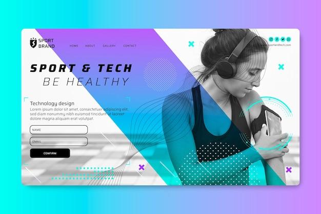 Landingspagina voor sport en technologie