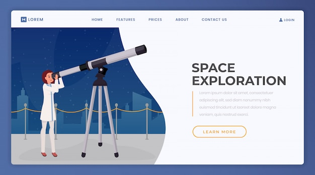 Landingspagina voor verkenning van de ruimte