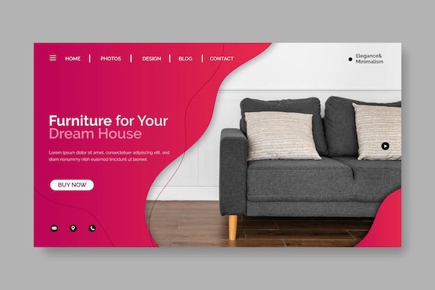 Landingspagina voor verkoop van meubels met kleurovergang met foto