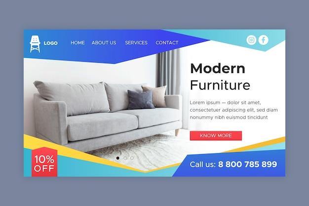 Landingspagina voor verkoop van meubels met kleurovergang