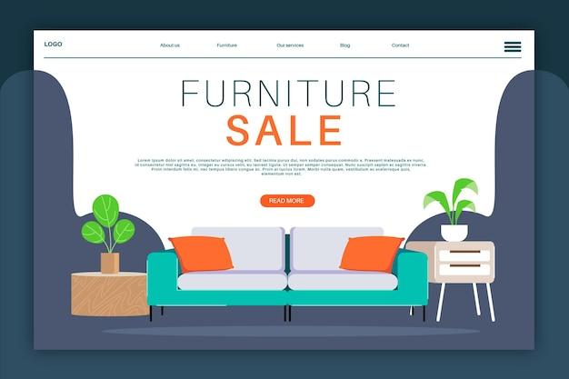 Landingspagina voor verkoop van organische platte meubels