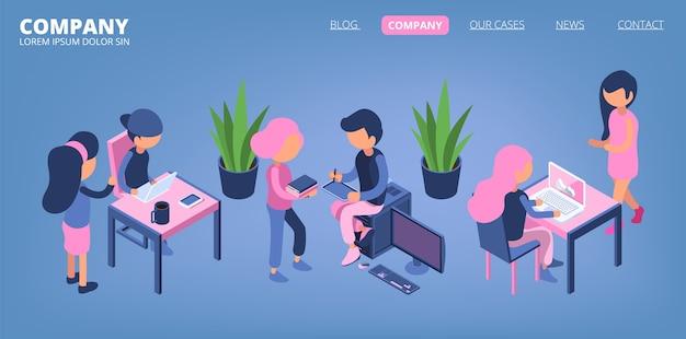 Landingspagina voor zakenmensen. managers, kantoor mannelijke en vrouwelijke isometrische karakters