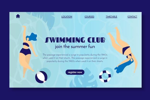 Landingspagina voor zwemclub