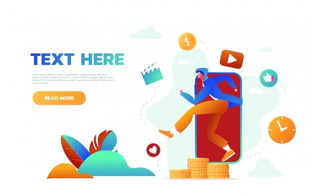 Landingspagina website mobiele muziekapplicatie. jonge man luisteren naar muziek en actieve levensstijl, mannelijk personage tijd doorbrengen met muziek app-paginabanner. cartoon vlakke afbeelding