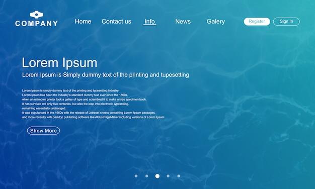 Landingspagina website sjabloon met abstracte water vorm achtergrond