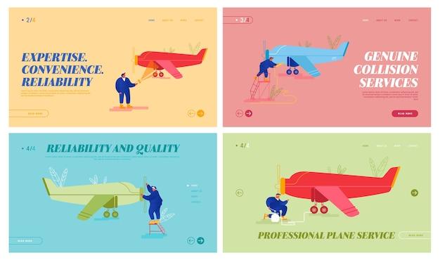 Landingspagina website voor onderhoud en reparatie van vliegtuigen