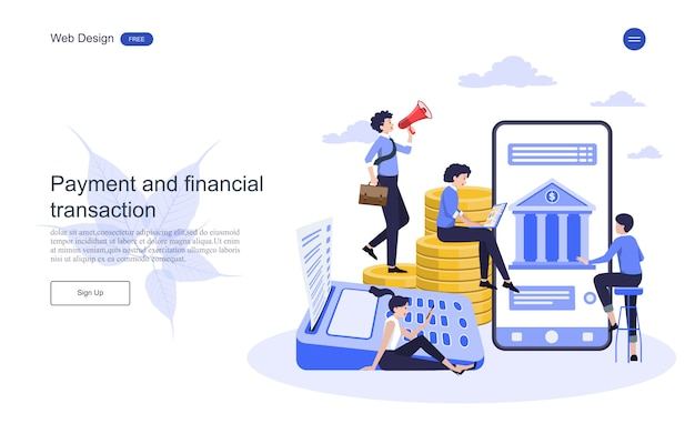 Landingspagina websjabloon bedrijfsconcept voor online bankieren, financiële transactie.