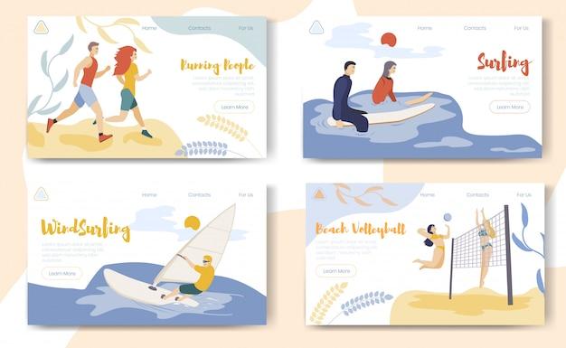 Landingspagina websjabloon set met sport stripfiguren