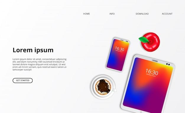 Landingspagina websjabloon. smarthphone-tabletgadget met koffie bovenaanzicht