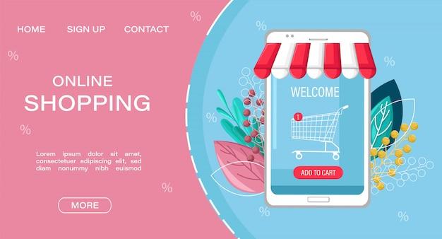 Landingspagina websjabloon. winkelen online app verkoop vlakke stijl.