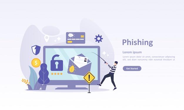 Landingspaginasjabloon van internetbeveiliging met karakter