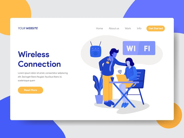 Landingspaginasjabloon voor draadloze verbinding en wifi-afbeelding