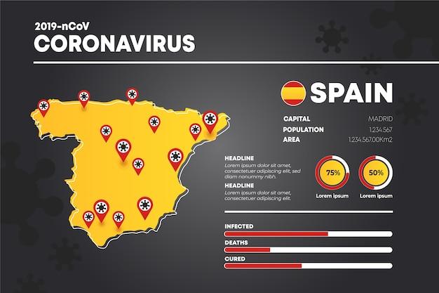 Landkaart infographic met coronavirus