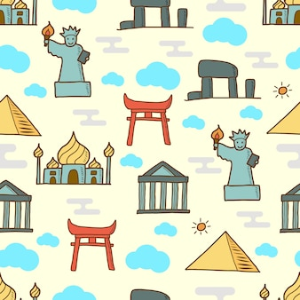 Landmark doodle naadloze patroon