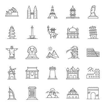 Landmark icon pack, met overzicht pictogramstijl