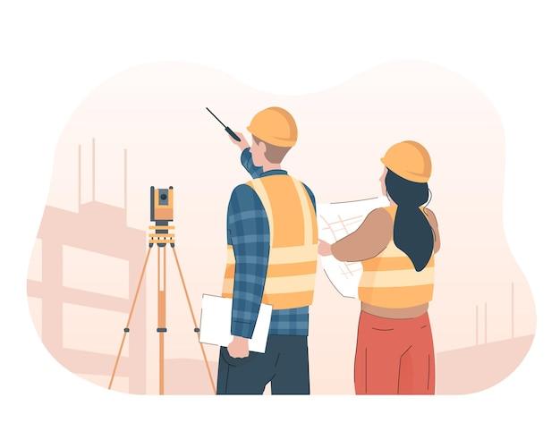 Landmeter ingenieur met theodoliet kijken naar bouwplaats