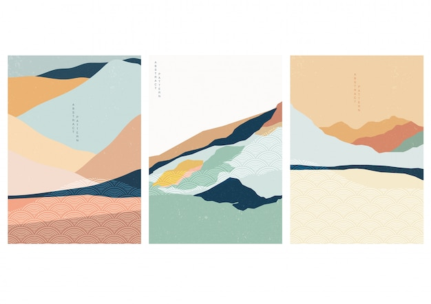 Landschap achtergrond met japanse golfpatroon. abstracte sjabloon met geometrische patroon. berg lay-outontwerp in aziatische stijl.