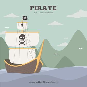 Landschap achtergrond met piraat schip