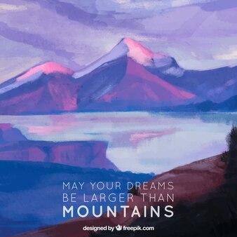Landschap achtergrond met waterverf meer en inspirerende boodschap